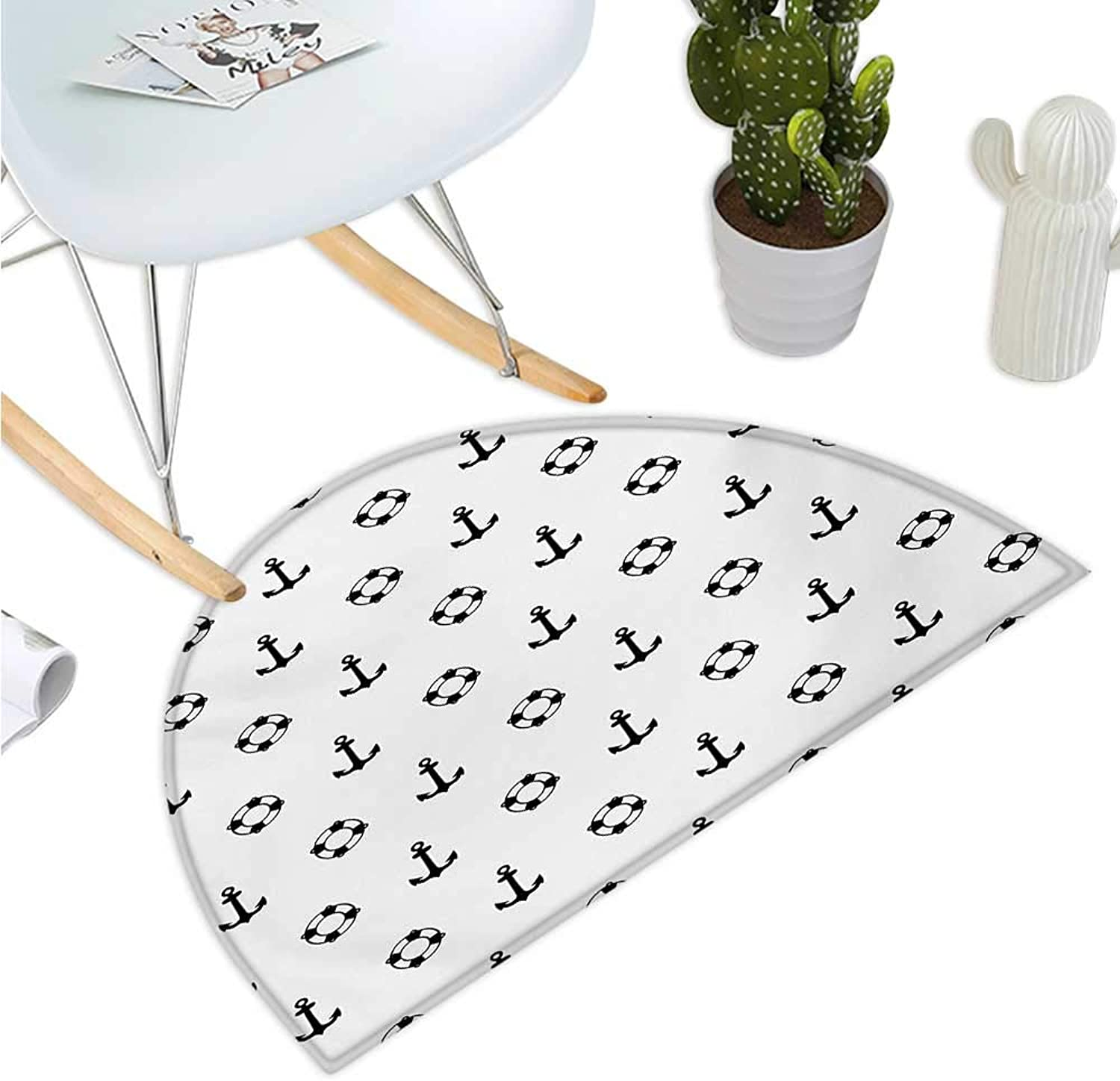 Nautical Semicircle Doormat Maritime Theme Objects Anchors and Lifebuoys Pattern Navy Ocean High Seas Halfmoon doormats H 35.4  xD 53.1  Black and White