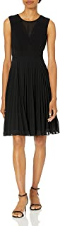Anne Klein womens PLEATED VNECK FIT AND FLARE DRESS Dress