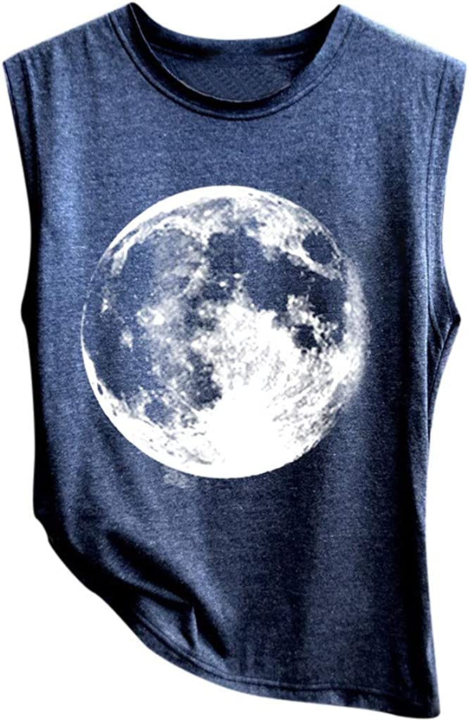 Tank Tops for Women,Womens Crop Top Printed Shirts Fit Sleeveless Workout Blouse Loose Camisoles Tee Crop Tops