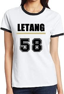 C-DIY Women's Contrast Color T-shirts Colors Kris #58 Hockey Letang Black
