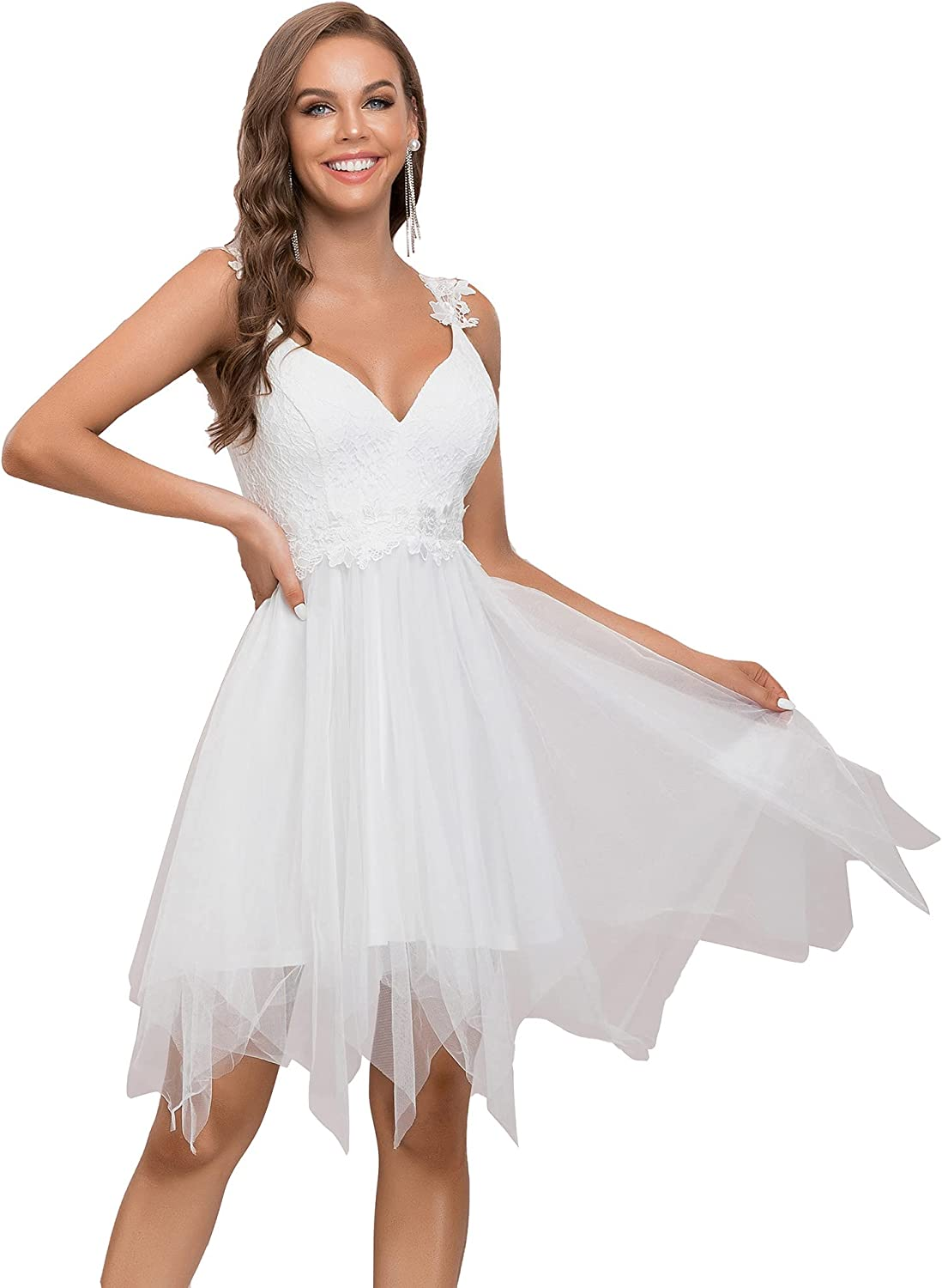 Ever-Pretty Women's Sleeveless Deep V Neck A Line Lace Irregular Tulle Embroidery Formal Party Dress 30233