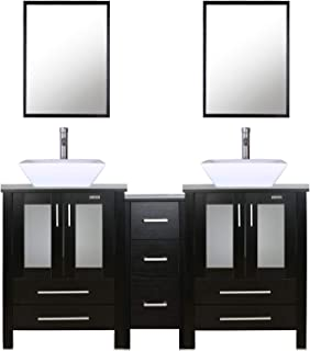 """eclife 60"""" Black Bathroom Vanity Sink Combo W/Side Cabinet Modern Stand Pedestal W/Square White Ceramic Vessel Sink, Chrome Bathroom Solid Brass Faucet and Pop Up Drain Combo, W/Mirror(A07 2B02)"""