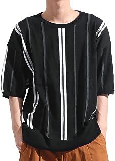 バレッタ Valletta 麻混 ストライプ 柄 クルーネック 半袖 サマーニット Tシャツ クルーネック ストリート モード メンズ