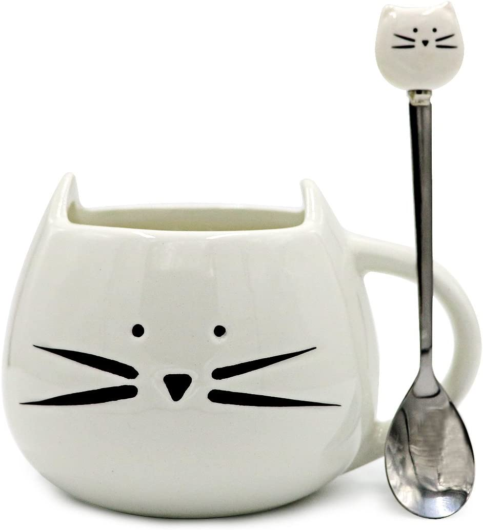 Teagas Novelty Cat Face Mug and Spoon Set 12 Oz - White Kitty Hilarious Coffee Mug Set, Lucky Gifts for Crazy Cat Lady