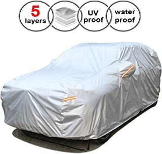 SEAZEN Car Cover Waterproof All Weather,Full car Covers UV Protection/Snowproof/Dustproof,Universal car Cover 5 Layer Breathable Fabric with Cotton(193
