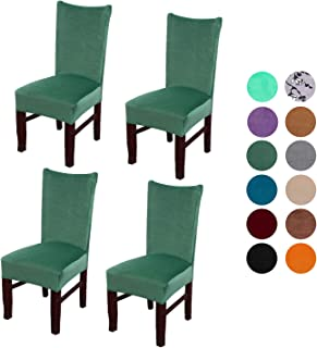 Velvet Spandex Stretch Dining Room Chair Cover, Removable Chair Slipcovers Set of 4pcs(green)