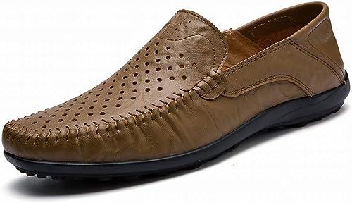 Hhor Grandes Chaussures de Pois Creux en Cuir Chaussures de Sport en Cuir pour Hommes (Couleuré   Kaki, Taille   41)