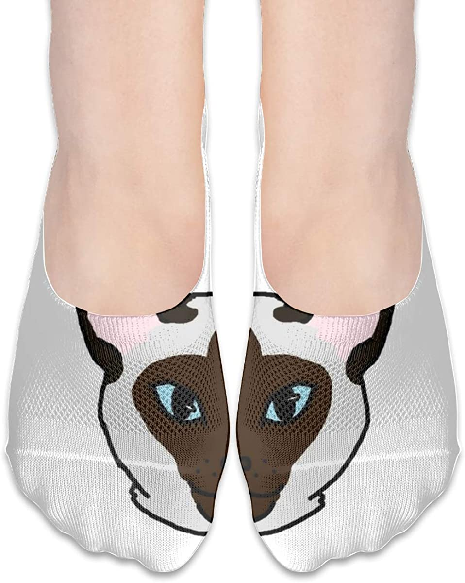 Personalized No Show Socks With Cute Siamese Cat Funny Print For Women Men