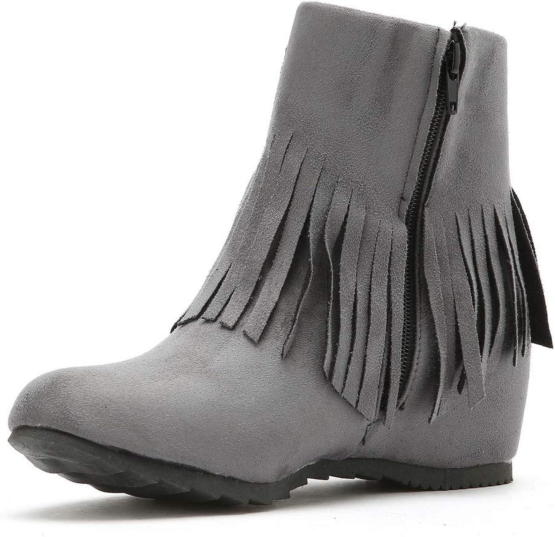 WeiPoot Women's Zipper Kitten-Heels Frosted Solid Mid-Calf Boots, EGHXH028212