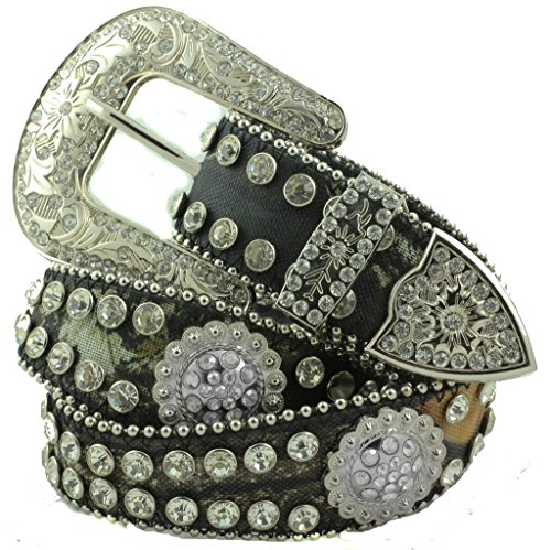 Deal Fashionista Camouflage Mossy Oak Scallop Wavy BERRY Western Rhinestone Bling Studded Removable Buckle Belt