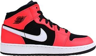 Jordan 554725-061: Boy's Air Jordan 1 Mid (GS) Black/Infrared 23/White Shoe (4.5 M US Big Kid)