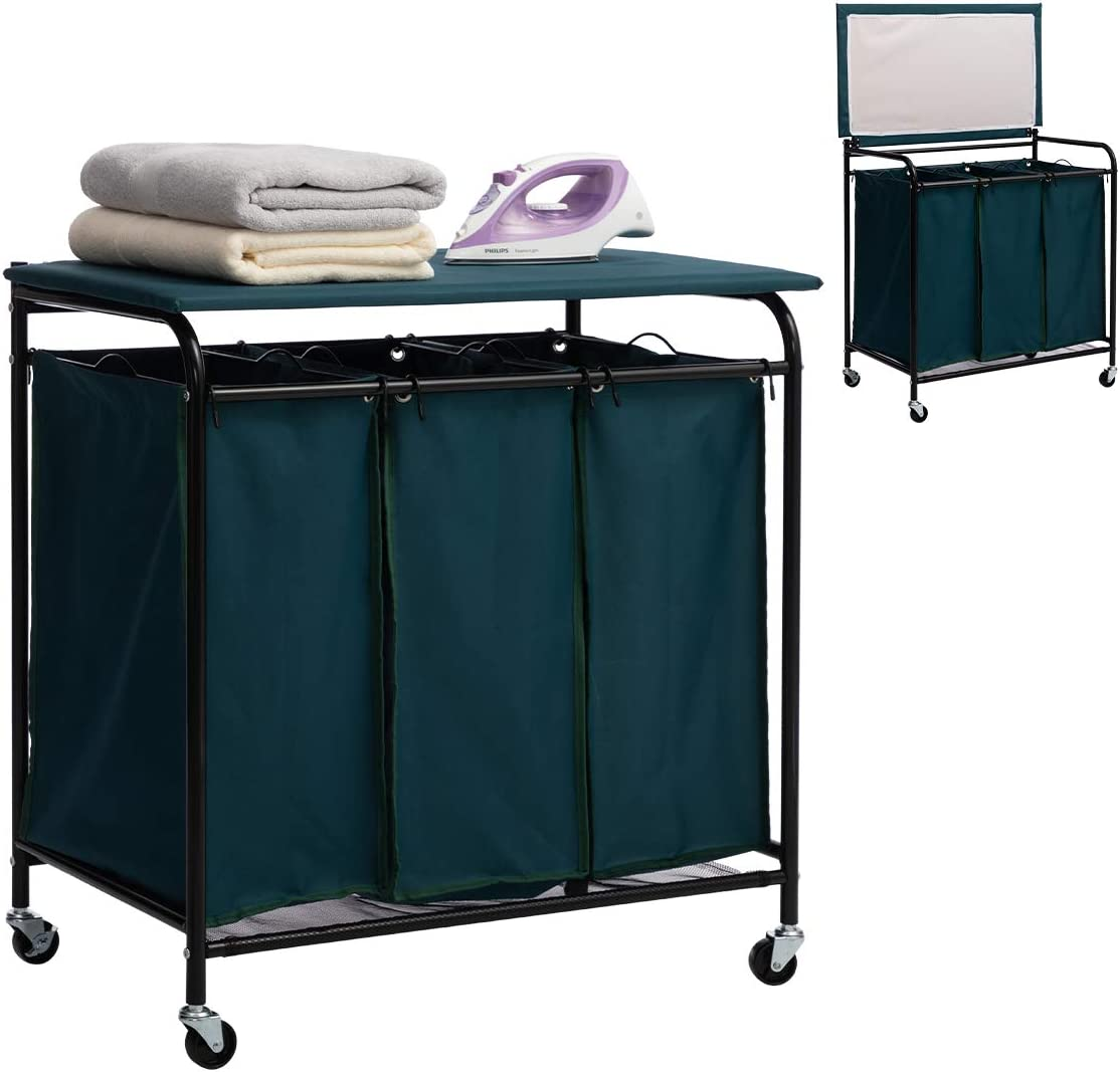 Marble Field 3-Bag Heavy-Duty Laundry Cart Sorter B Max 85% Max 67% OFF OFF Ironing with