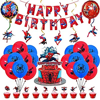 Spiderman Party Decorations,Spiderman Theme Birthday Party Supplies Set– Spiderman Happy Birthday Banner Foil Latex Balloons Cupcake Toppers Spiderman Swirl - Avengers Superhero Birthday Party Supplies