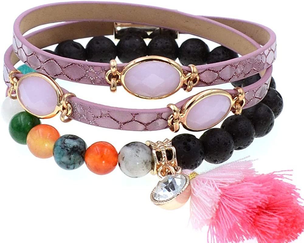 2 Layers Leather Bracelet Max 57% OFF Beads For Tassel Max 64% OFF W Bracelets