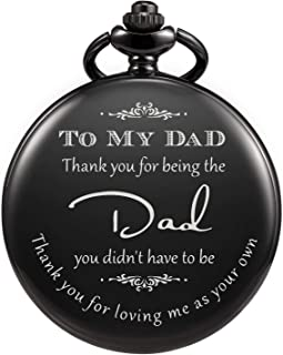 "TREEWETO Pocket Watch Men Personalized Engraving ""Thank You for Being The Dad"" Quartz Watches from Daughter Child to DAD Father Engraved with Chain"