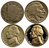 Lot of 4 Different Type Nickels - Liberty (1883-1912), Buffalo (1913-1938), and Jefferson (1938-Date)
