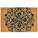 Felpudo Entrada casa / Felpudo Original Fibra de Coco de 40x60 cm-Bicolor. Dibujo Mandala- Fabricación e Inspiración Hindú. Alfombra-Tapete Interior-Exterior Antideslizante, Absorbente y Resistente.