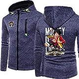 Herren Sweatshirt Zip Hoodies für Monkey D. Ruffy Printed Fashion Top Hoodie Lässige Unisex...