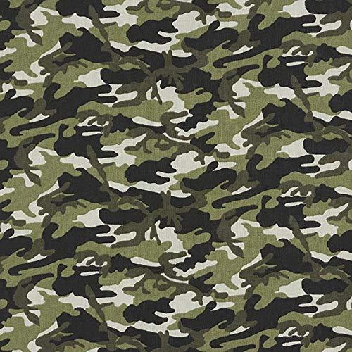 Baumwollstoff Cretonne Camouflage – khaki/dunkelgrün — Meterware ab 0,5m — STANDARD 100 by OEKO-TEX® Produktklasse I — zum Nähen von Kissen/Tagesdecken, Homeaccessoires & Taschen