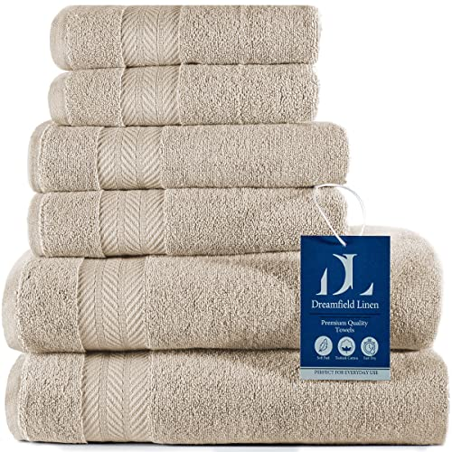 Luxury Turkish Bath Towel Set - 550 GSM 100% Double Ring Spun Cotton Ultra Soft and Absorbent Premium Quality Bathroom Towels Includes 2 Bath Towels,...