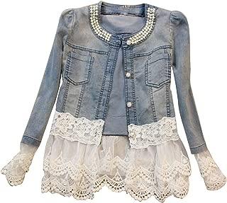 Women Casual Jeans Jacket Fashion Pearl Long Sleeve Coat Size L