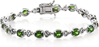 "Trinity Knot Station Link Tennis Bracelet Genuine 925 Sterling Silver Platinum Plated Oval Chrome Diopside Jewelry 8"" Cttw 4.7"
