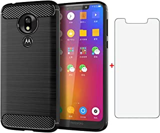 Phone Case for Moto G7 Play/MotoG7 Optimo XT1952DL/Tmobile Revvlry with Tempered Glass Screen Protector Cover and Cell Accessories Slim TPU Silicone Motorola MotoG7Play Moto7 G 7 7G G7Play Cases Black