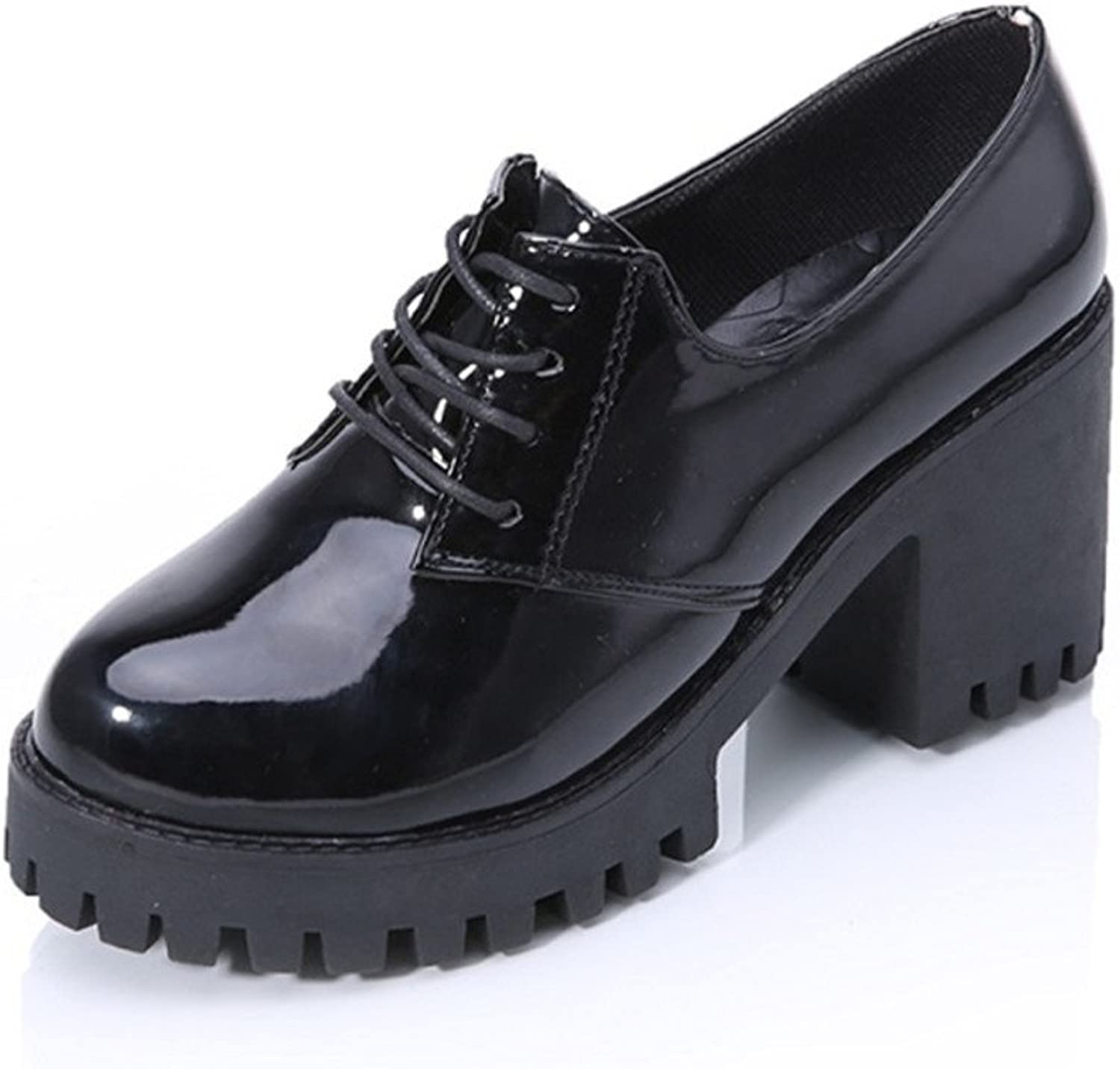 Spring-tie thick-soled platform shoes Rough with high heel leather shoes