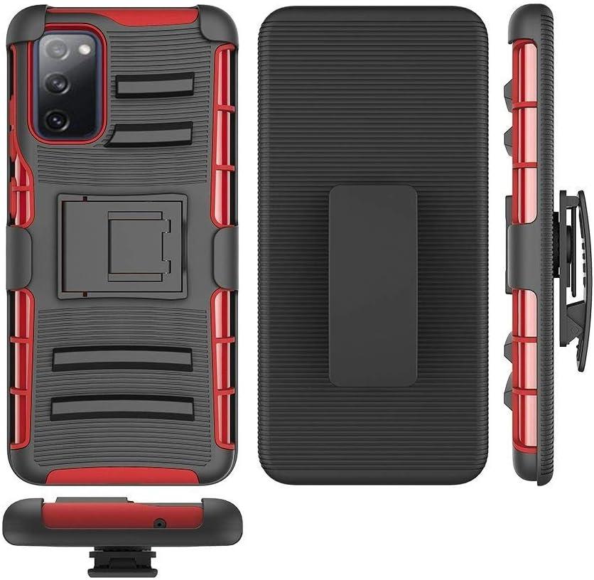 AmeriCase - Samsung Galaxy S20 FE 5G (SM-G781) Hybrid Defender Phone Case W/Belt Clip Holster for Galaxy S20 FE 5G (Red)