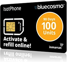 BlueCosmo IsatPhone 100 Unit Global Satellite Phone Prepaid Service SIM Card for Inmarsat IsatPhone Pro and IsatPhone 2   90 Day Expiry - No Activation Fees - Voice - SMS Text Messaging