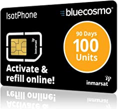 BlueCosmo IsatPhone 100 Unit Global Satellite Phone Prepaid Service SIM Card for Inmarsat IsatPhone Pro and IsatPhone 2-90 Day Expiry - No Activation Fees - Voice - SMS Text Messaging