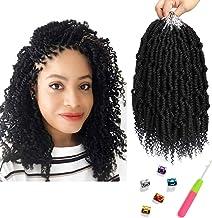 Bomb Twist Crochet Hair 6 Packs 10inch Spring Twist Crochet Braids Pretwisted Passion Twist Hair Pre looped Crochet Hair Synthetic Braiding Hair Extension Fluffy Twist Dreadlocks Hair for Women(1B#)