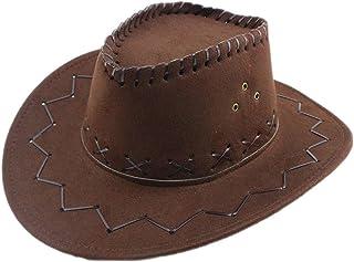 Cappello da cowboy texano a tesa larga in pelle scamosciata Cappello da cowboy occidentale Accessori per feste in maschera...