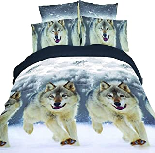 L.J.JZDY Bedding Set 3D Wolf Bedding Twin Wolf Comforter Set for Kids Cool Bedroom Decor Bed Set 3PCS 1 Comforter 2 Pillow Shams Quilt Set (Color : Wolf, Size : 3pcs)
