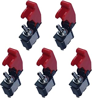 ESUPPORT 12V 20A Red Cover Rocker Toggle Switch SPST ON/Off Car Truck Boat 2Pin Pack of 5