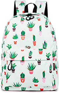 Cute School Backpack for Teen Girls Bookbag Cactus Printed Laptop Travel Daypack