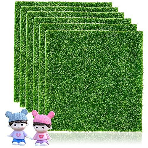 6 Pezzi Erba Artificiale,Giardino in Miniatura Erba Decorazione,Combinazione di Decorazione di Figure in Erba Artificiale + Resina,15cm × 15cm,Utilizzata Per la Produzione Fai-Da-Te di Micro Paesaggi