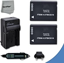 2 High Capacity Replacement Panasonic DMW-BCG10 Batteries with AC/DC Quick Charger Kit for Lumix DMC-TZ6,TZ10, TZ18, TZ19,...