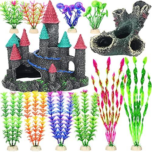 12 Pack Aquarium Decoration, Fish Tank Decorations Set, Small Castle and Tree Trunk Betta Fish Cave Hideouts, Various Sizes Artificial Plastic Plants Ornament Accessories