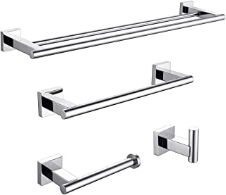 KLXHOME 4-Pieces Polished Stainless Steel Bathroom Hardware Set Wall Mounted - Includes Double Towel Bar, Hand Towel Rack,...