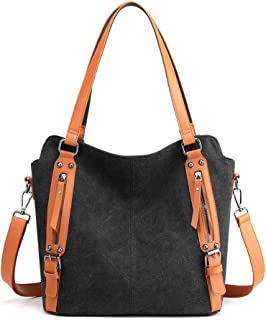 YANAIER Schultertasche Damen Canvas Handtasche Groß Vintage Hobo Umhängetaschen Mädchen Designer Shopper Tasche Schwarz