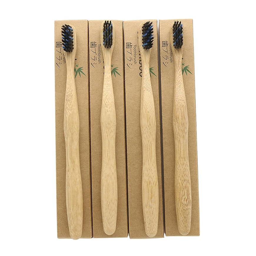 明快ジェーンオースティン運営N-amboo 竹製耐久度高い 歯ブラシ 黒いと青い 4本入り セット
