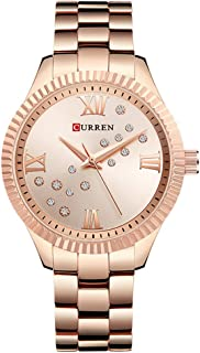 Curren 9009 Quartz Movement Round Dial Stainless Steel Waterproof Women Watch - Rose Gold, White