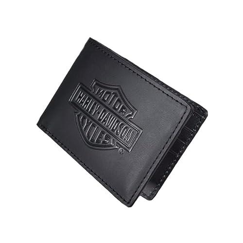 Harley-Davidson Mens Bar & Shield Logo Flip Fold Black Leather Wallet 99463-06V