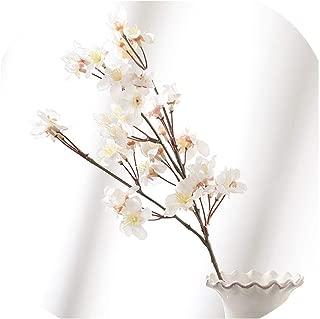 Huzzg DIY Artificial Simulation Peach Branch Home Decoration Plastic Fake Flower Bouquet Plum Blossom Branch Silk Flower Wedding Decor,White