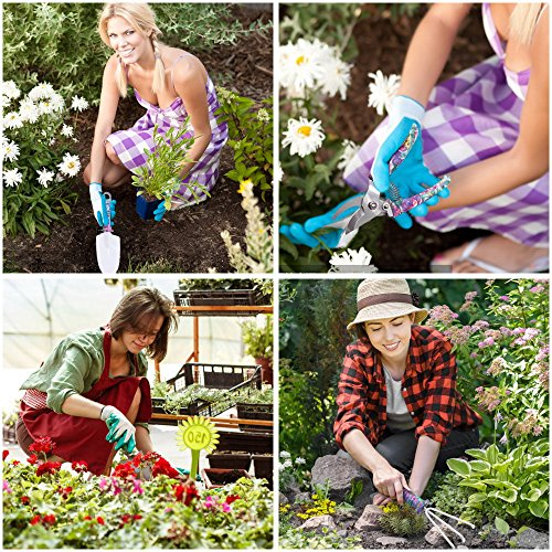Garden Tools Set, JUMPHIGH 10 Pieces Gardening Tools with Purple Floral Print, Ergonomic Handle Trowel Rake Weeder Pruner Shears Sprayer, Garden Hand Tools with Carrying Case Gardening Gifts for Women