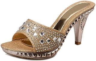 jingxlkd - Sandalias de tacón Alto con Plataforma y Diamantes de imitación, para Mujer