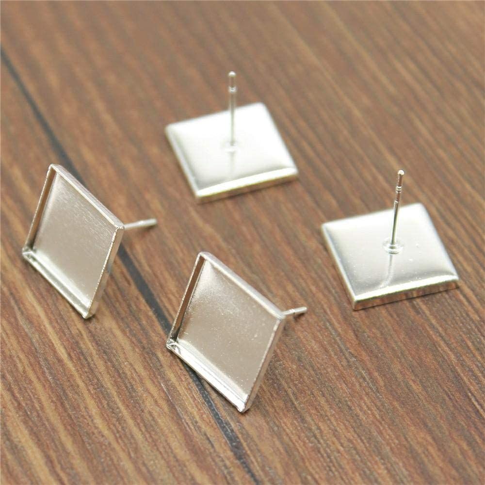 WANM 20pcs 5 Colors Fit 12mm Square Cabochon Glass Studs Earring SALENEW Sale special price very popular