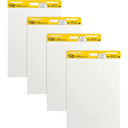 Post-it Super Sticky Easel Pad, 25 x 30 Inches, 30 Sheets/Pad, 4 Pads, Large White Premium Self Stick Flip Chart Paper, Super Sticking Power (559-4)