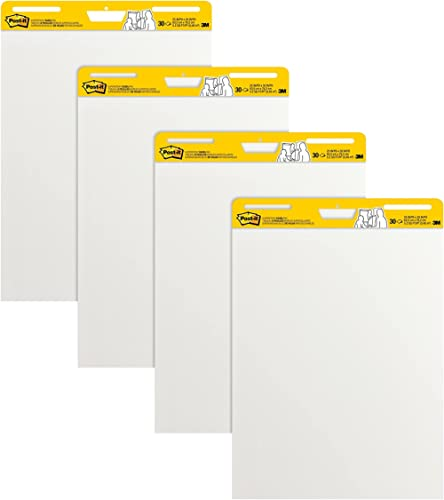 Post-it Super Sticky Easel Pad, 25 x 30 Inches, 30 Sheets/Pad, 4 Pads, Large White Premium Self Stick Flip Chart Pape...